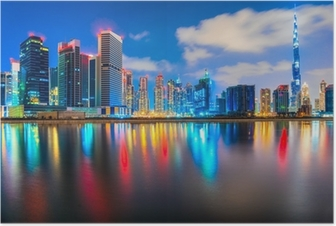 Poster Dubai skyline i skymningen, Dubai.