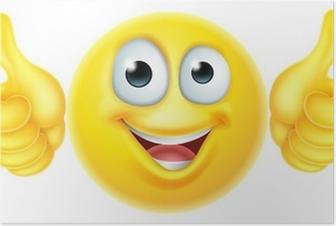 Poster Duimen omhoog emoticon emoji