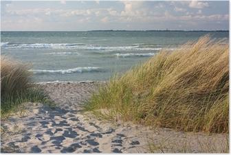 Poster Duinen op het strand van de Baltische Zee in Heiligenhafen