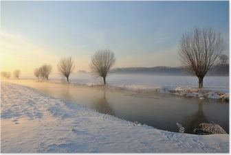 Dutch winter landscape with snow and low sun Poster