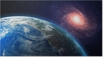 Earth and a spiral galaxy in the background Poster