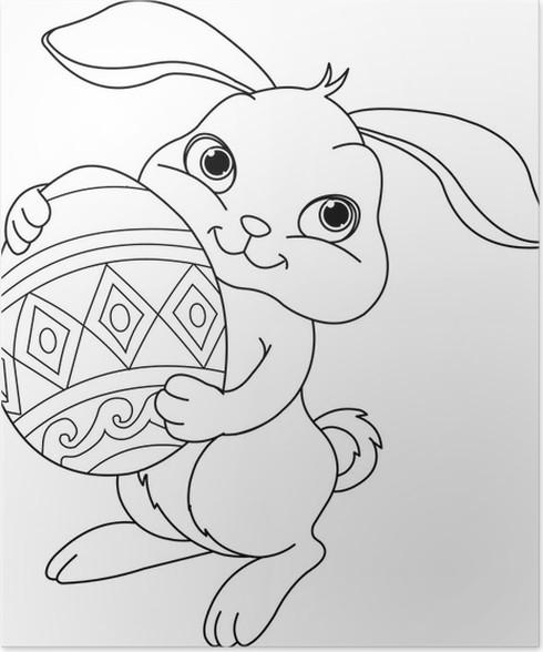 Poster Easter bunny. Kleurplaat • Pixers® - We leven om te veranderen