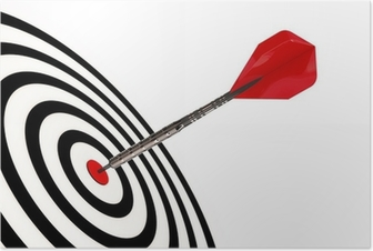 Poster Een dart pijl zijn doel geïsoleerd met clipping path raakt