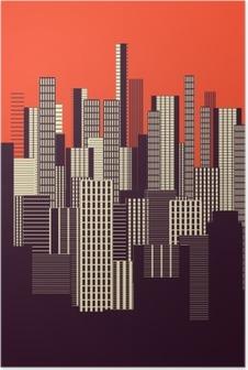 Poster Een drie kleuren grafische abstracte stedelijke landschap poster in oranje en bruin
