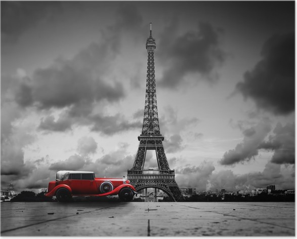 Effel tower paris france and retro red car black and white poster