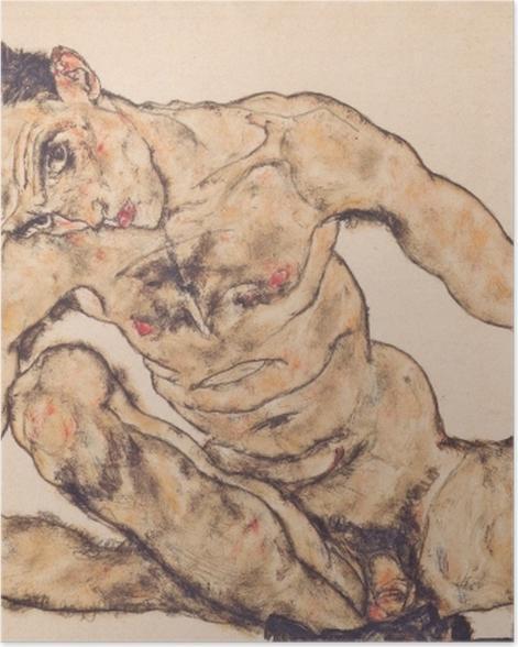 Poster Egon Schiele - Autoportrait nu - Reproductions