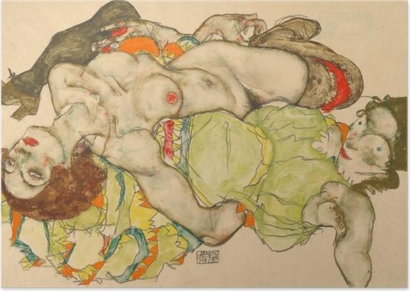 Poster Egon Schiele - Couple de femmes amoureuses - Reproductions