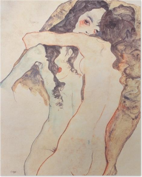 Poster Egon Schiele - Deux femmes s'embrassant - Reproductions