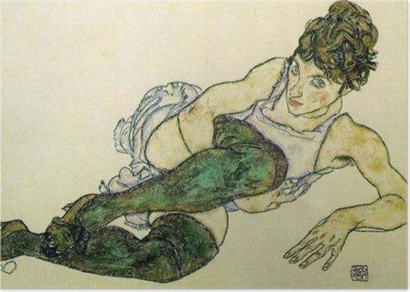 Poster Egon Schiele - Femme allongée aux bas verts - Reproductions
