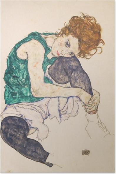 Poster Egon Schiele - Femme assise genoux plié - Reproductions
