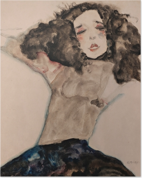 Poster Egon Schiele - Fille aux cheveux noir - Reproductions