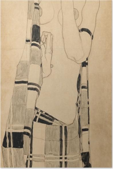 Poster Egon Schiele - Fille debout dans le chiffon quadrillé - Reproductions