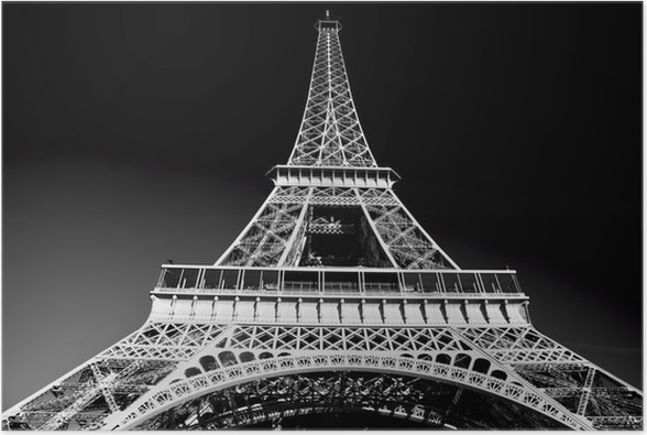 Eiffel tower in artistic tone black and white paris france poster