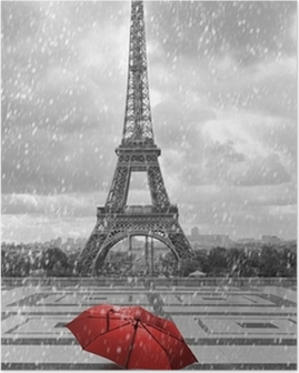 Eiffel tower in the rain. Black and white photo with red element Poster