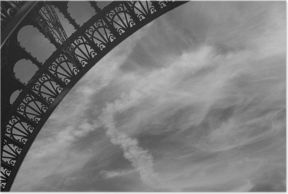 Eiffel tower ornate curve black and white poster european cities