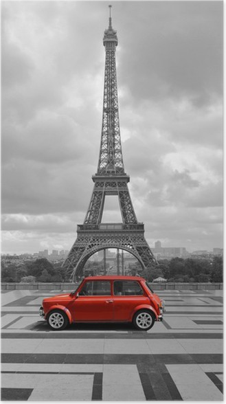 Eiffel tower with car black and white photo with red element poster