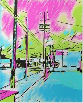 Póster El dibujo y la pintura azul de la ciudad con el cielo rosado y verde