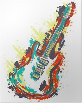 Electric guitar. Hand drawn grunge style art. Retro banner, card, t-shirt, bag, print, poster.Vintage colorful hand drawn vector illustration Poster