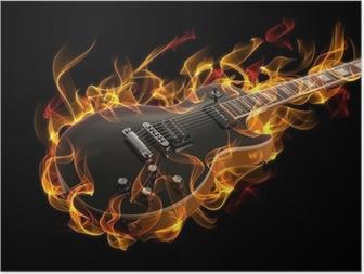 Poster Elektrische gitaar in brand en vlammen