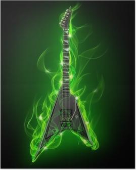 Poster Elektrische gitaar in groene vuur en vlam