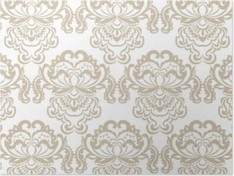 Poster Élément de motif ornement baroque damassé floral vector. texture de luxe élégant pour les milieux textiles, tissus ou fonds d'écran. couleur beige