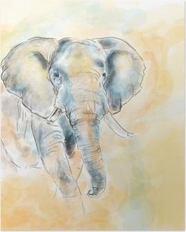 Elephant aquarelle painting imitation Poster