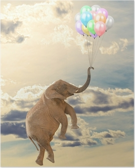 Elephant Flying With Balloon Poster