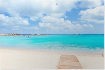 Poster Els Pujols Formentera sable blanc turquoise plage