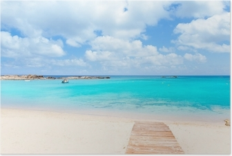 Poster Els Pujols Formentera wit zand turquoise strand