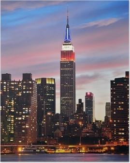 Poster Empire State Building på natten