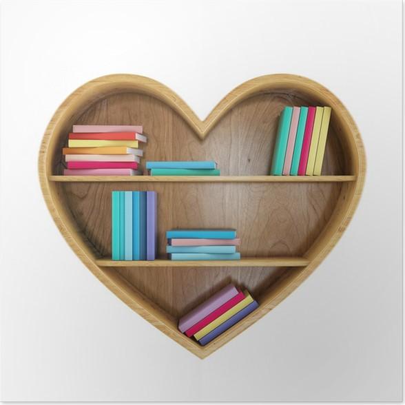 Póster En forma de corazón estante de libros con los libros ...