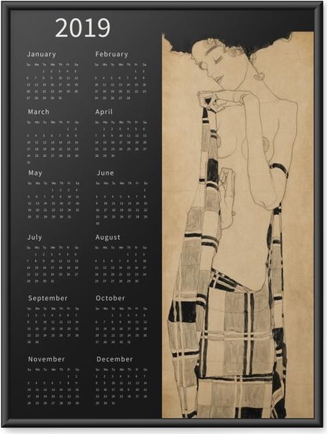 Poster en cadre Calendrier 2019 - femme rêveuse -