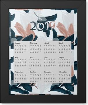 Poster en cadre Calendrier 2019 - fleurs