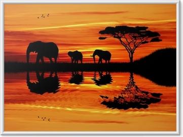 Poster en cadre Éléphant silhouette au coucher du soleil