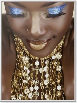 Poster en cadre Femme africaine avec de l'or