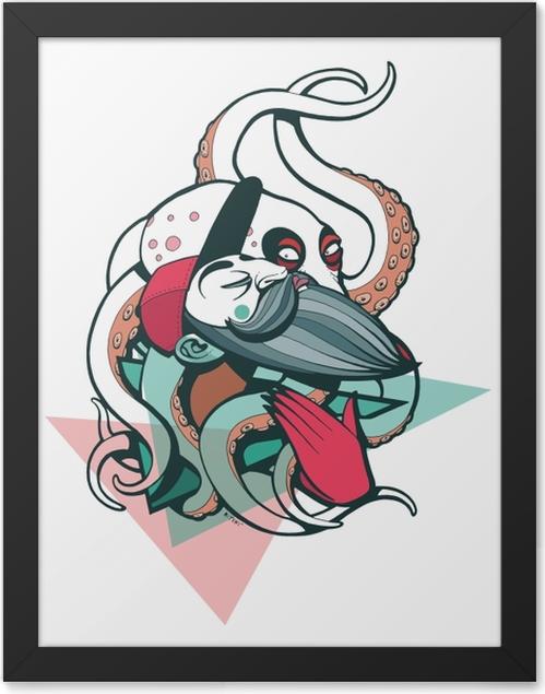 Poster en cadre Garçon dans un bonnet rouge avec une pieuvre blanche -