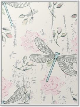 Poster en cadre Grungy seamless floral avec des libellules