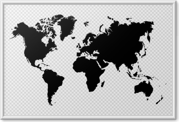 Poster en cadre Noir isolé carte fichier vectoriel EPS10 mondiale.