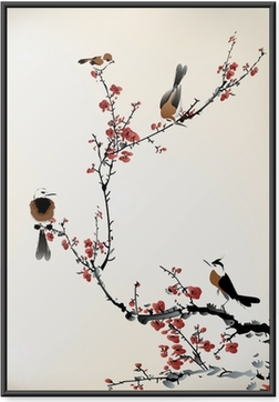 Poster en cadre Oiseaux peinture