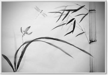 Poster en cadre Orchidée sauvage et le bambou