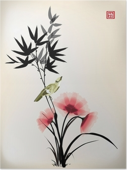 Poster Encre style chinois dessin fleur oiseau