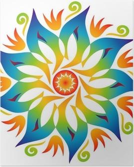 Poster Energy Mandala Rainbow Colors