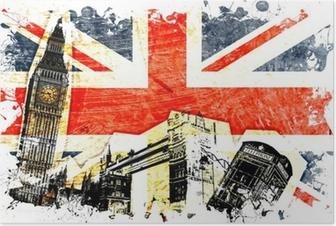 Poster Engelska flaggan etsat
