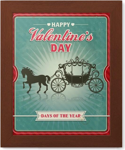 Póster Enmarcado Diseño de la vendimia del cartel de San Valentín ...