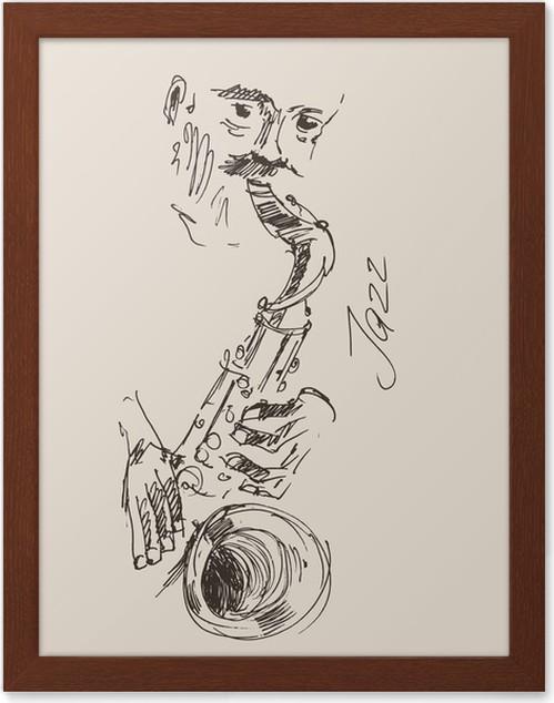 Póster Enmarcado Ilustración del concepto de JAZZ jazz vintage ...