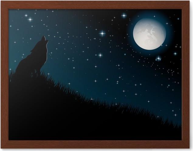 Póster Enmarcado Lobo aullando a la luna en el fondo la noche ...