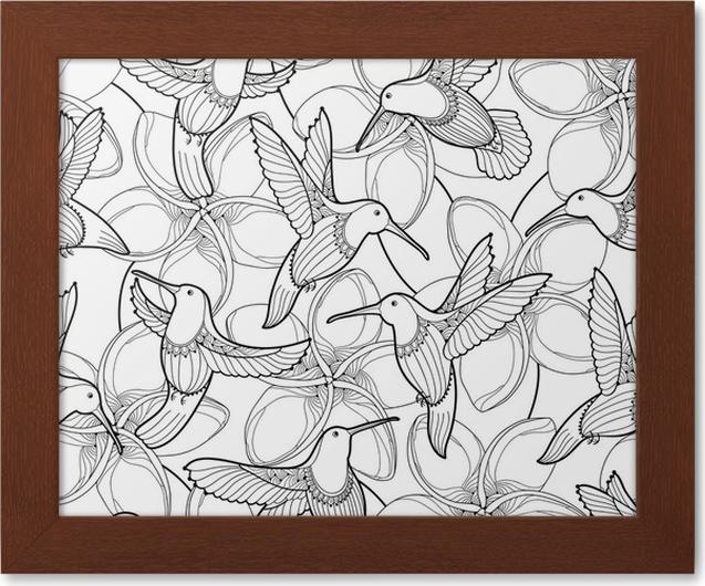 Póster Enmarcado Patrón transparente de vector con flor de plumeria ...