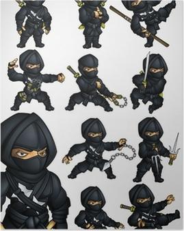 Poster Ensemble de 11 Ninja pose dans un costume noir