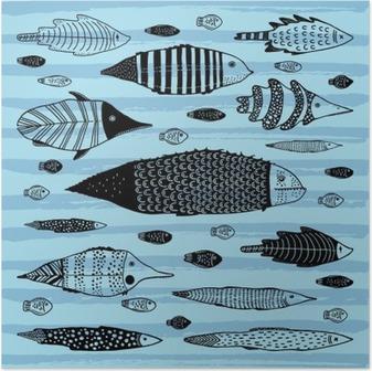 Poster Ensemble de poissons drôles