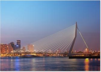 Erasmus Bridge in Rotterdam at Twilight Poster